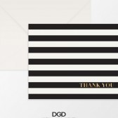 Modern Black & White Stripe Thank You Folded Note Card