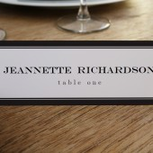 Place Card Template - Black Stripe