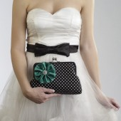 Black and White Polka Dot Clutch with Emerald Flower Brooch