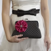Black and White Polka Dot Clutch with Fuschia Flower Brooch