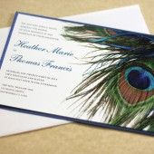 Peacock Feather Modern Wedding Invitation