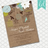 Blue Bird Cage Wedding Invitation on Brown Linen