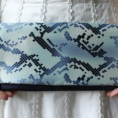 Blue Silk Clutch - Mosaic Tile Print