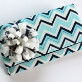 Blue Chevron Striped Clutch with Ribbon Flower
