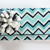 Blue Chevron Striped Danielle Clutch