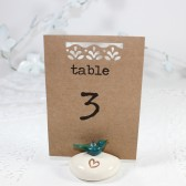 Blue bird rustic heart wedding table number holder