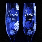 Blue Bride & Groom Champagne Flutes, Personalized Snowflake Toasting Glasses