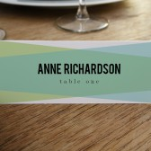 Place Card Template - Blue Green Geometric