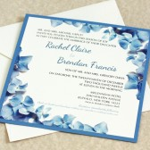 Blue Hydrangea Border Wedding Invitation