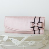 Blush Pink Dupioni Silk Wedding Clutch with Bow
