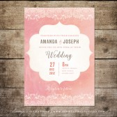 Printable Blush Pink and Lace Wedding Invitation, Rustic Wedding Invite