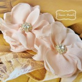 Blush Bridal Hair Flower Set of 2