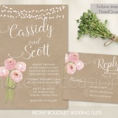 Blush pink peony wedding invitations with kraft paper background, watercolor florals  and fun scripts handwritten calligraphy
