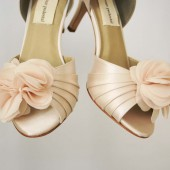 Blush Peep Toe Custom Wedding Shoes with Matching Organza Flower Off Center on the Toe