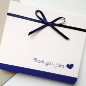 Blush and Navy Wedding Thank you Card