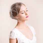 Birdcage, bandeau, veil, bridal, florentes, hair, accessory, headpiece, netting, russian, traditional, 9 inch