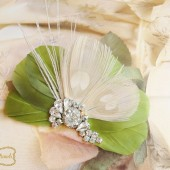 Bridal Fascinator, Wedding Fascinator, Bridal Headpiece, Feather Fascinator, Rhinestone Feather Head Piece, Olive, Green, Fascinator
