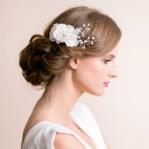 bridal, hair comb, comb, hair, rose, crystal, wedding, accessory, pearl