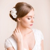 bridal, flower, headpiece, wedding, hairpiece, bridal flower comb, hair comb, flower comb