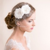 bridal, headpiece, hair accessory, lace, lace headpiece, birdcage, birdcage fascinator, fascinator, bridal headpiece