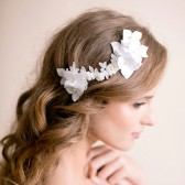 hydrangea, bridal hairpiece, bridal, wedding, headpiece, lace, flower, bridal hair piece, handmade