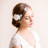 bridal, headpiece, hair accessory, lace, lace headpiece, rhinestone, bridal headpiece, gardenia, hair comb