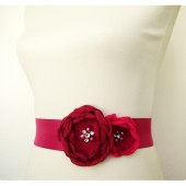 Fuchsia Pink Floral Bridal Dress Sash