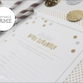 Printable Bridal Shower Word Scramble Game in Gold Glitter