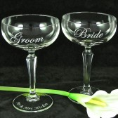 Bride & Groom Champagne Coupes, Personalized