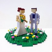 Custom Bride and Groom in Flower Patch Wedding Cake Topper