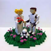 Leia and Han as Trooper Cake Topper in Flower Patch