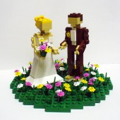 Custom Wedding Cake Topper Bride and Groom in Flower Patch