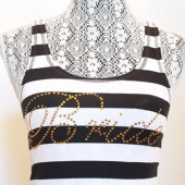 Black and white stripe tank with Gold bride