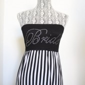 Bride Black and white stripe tube maxi dress