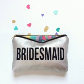 Bridesmaid Platinum Leather Clutch