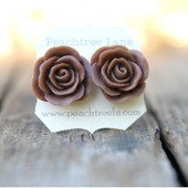 Large Chocolate Brown Rose Earrings