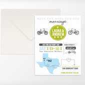 Customizable State Map Silhouette Casual Bike Fun Unique Wedding Save the Date Invitation