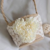 Burlap Flower Basket, Rustic Flower Girl Basket, Ivory Ceremony Basket