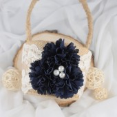 Navy Flower Basket, Rustic Flower Girl Basket, Peony Burlap Basket