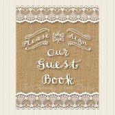 Rustic Burlap Wedding Guest book / Guestbook Sign