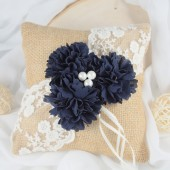 Navy Ring Bearer Pillow, Burlap Ring Pillow, Navy, Lace Ring Pillow, Rustic