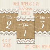 """Burlap and Lace Printable Table Numbers 1-25: 4x6"""""""