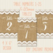 Burlap and Lace Printable Table Numbers 1-25: 4x6""