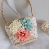 Rustic Wedding Burlap Flower Basket, Mint and Peach Wedding Basket, Lace Basket