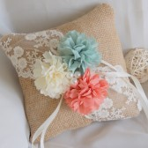 burlap ring bearer pillow, rustic ring pillow, mint, peach, lace