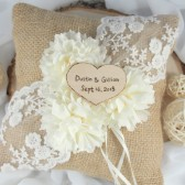 Ivory Ring Bearer Pillow, Personalized, Burlap Ring Pillow, Rustic