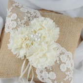 Burlap Ring Bearer Pillow, Ivory Peony Wedding Pillow, Rustic Ring Pillow, Pearl