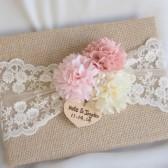 Burlap Guest Book, Rustic Wedding Guest Book, Lace, Fabric Peonies, pink