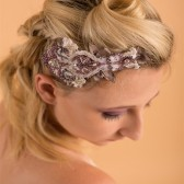 taupe satin, purple beaded lace hairpiece, handbeaded bridal hairpiece, rhinestone, copper, guipure lace, side hairpiece