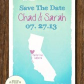Pulp Sisters Paperie CA Map Save the Date
